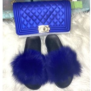 Royal Blue Jelly Bag & Fur Slides Set